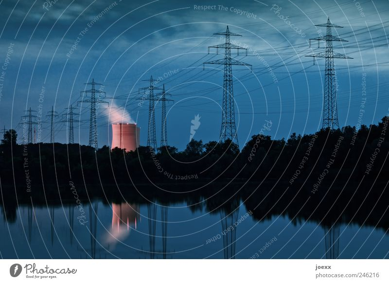 Sky Blue Red Clouds Black Lake Fear Pink Energy Energy industry Threat Electricity pylon Environmental pollution Steam Sustainability Nuclear Power Plant