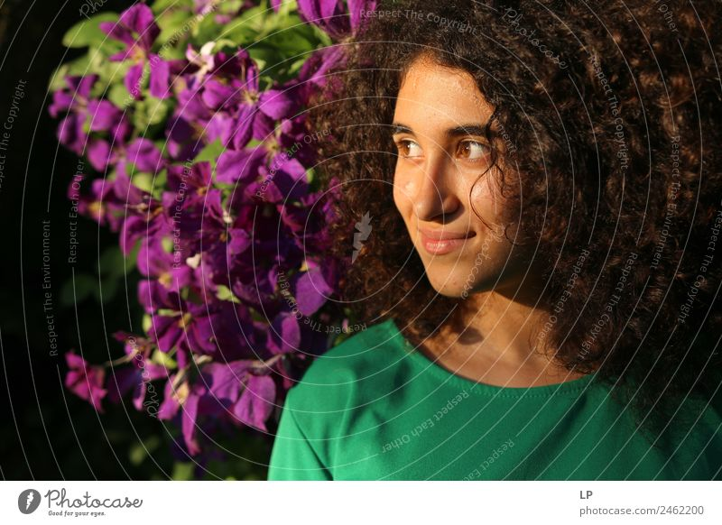 portrait and purple flowers Human being Youth (Young adults) Young woman Beautiful Relaxation Calm Joy Face Adults Lifestyle Emotions Feminine Style