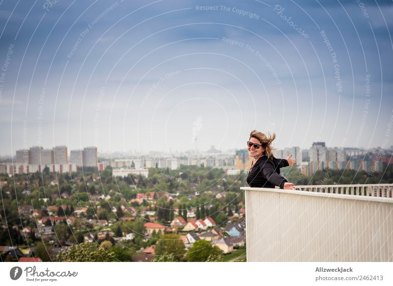 young woman in front of Berlin skyline Day 1 Person Woman Feminine Young woman Portrait photograph Germany Capital city Skyline Panorama (View) Blue sky Wind