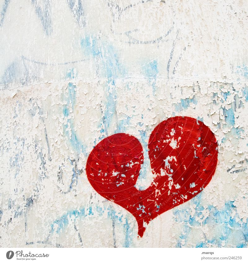 Old White Beautiful Blue Red Love Colour Emotions Graffiti Heart Together Romance Sign Joie de vivre (Vitality) Relationship Attachment