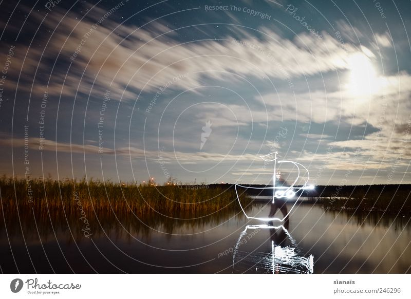 Human being Sky Water Landscape Lake Watercraft Wind Driving Painting (action, artwork) Draw Bay Lakeside Sailing Common Reed Navigation Ghosts & Spectres