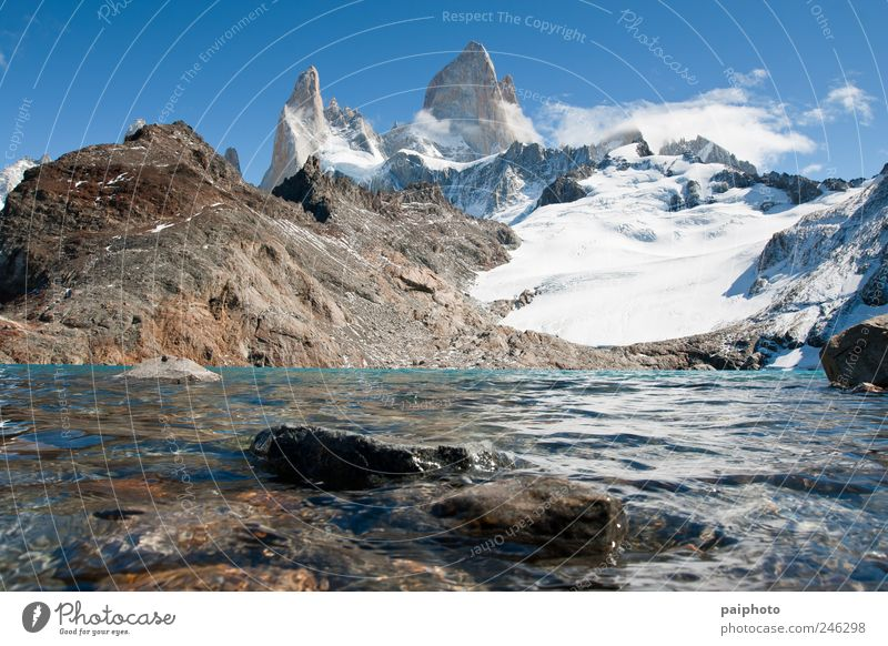 Fitz Roy majestic Sky Nature Beautiful Vacation & Travel Summer Calm Far-off places Environment Landscape Mountain Freedom Earth Ice Weather Natural Hiking