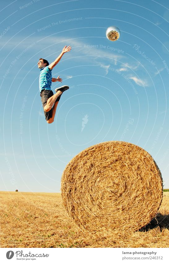 Weightless Summer Success Human being Masculine Young man Youth (Young adults) Life 18 - 30 years Adults Sunlight Beautiful weather Bale of straw Flying Jump