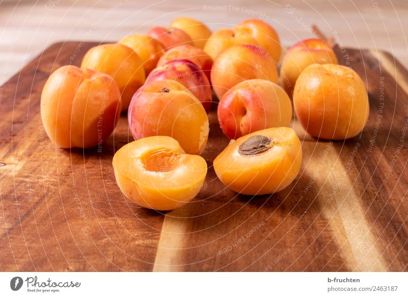 apricots Food Fruit Organic produce Fresh Healthy Apricot Many Chopping board Cooking Colour photo Interior shot Deserted Day
