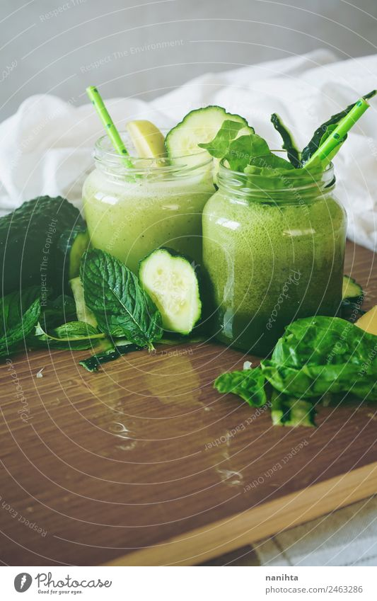 Healthy and detox green smoothies Food Vegetable Fruit Apple Cucumber Mint Spinach Nutrition Eating Organic produce Vegetarian diet Diet Beverage Cold drink