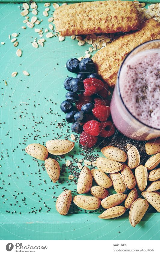 Healthy smoothie with grains and berries Food Dairy Products Fruit Grain Cookie Almond Oats Blueberry Berries Raspberry Nutrition Eating Breakfast