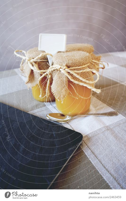 Artisan jars of honey Food Honey Nutrition Organic produce Vegetarian diet Glass Spoon Healthy Eating Kitchen Trade Packaging Blank Label Fresh Cheap Good