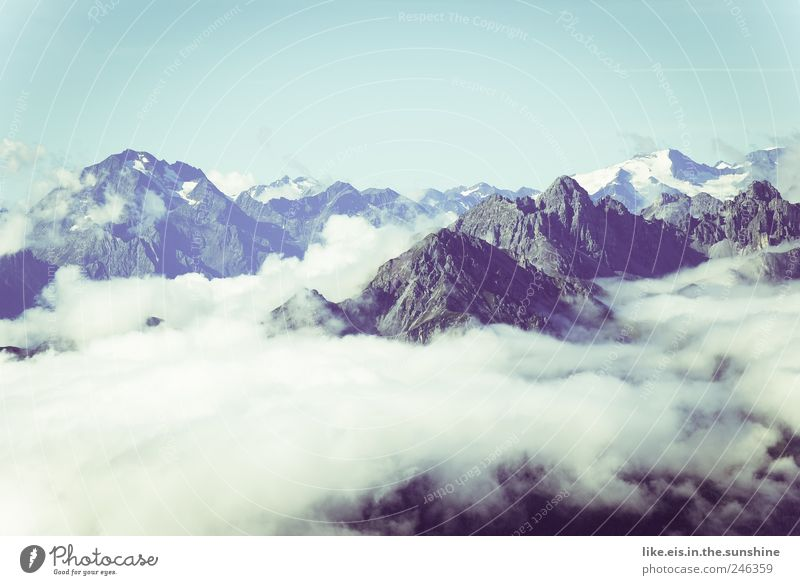 above the clouds Trip Far-off places Freedom Expedition Mountain Hiking Climbing Mountaineering Environment Nature Landscape Sky Cloudless sky Summer