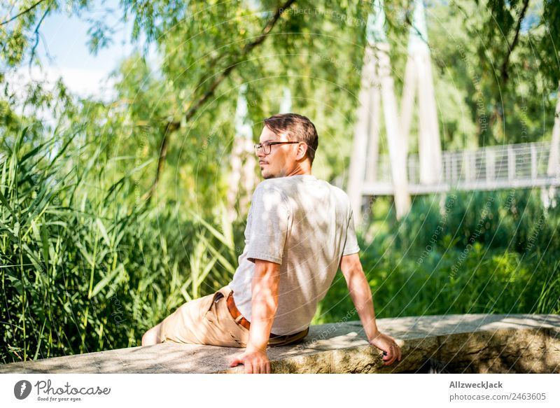 Nature Vacation & Travel Beautiful Green Young man Relaxation Loneliness Calm Travel photography Think Contentment Bright Park Meditative Sit To enjoy
