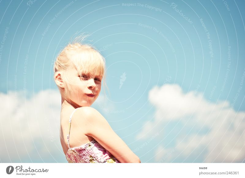 Human being Child Sky Beautiful Girl Summer Joy Clouds Face Hair and hairstyles Infancy Blonde Leisure and hobbies Cool (slang) Cute Posture