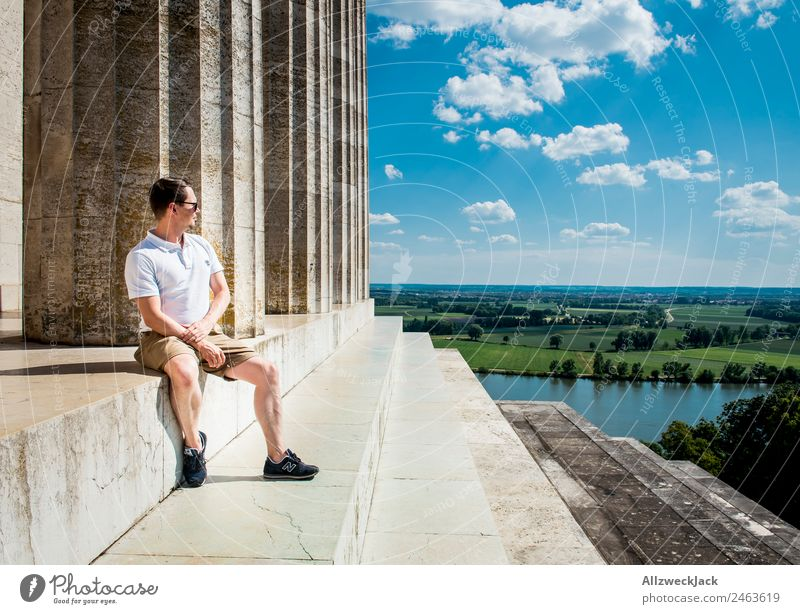 Man sits at Valhalla and looks into the distance Germany Regensburg Walhalla Tourist Attraction Column Vantage point Far-off places Panorama (View) Danube