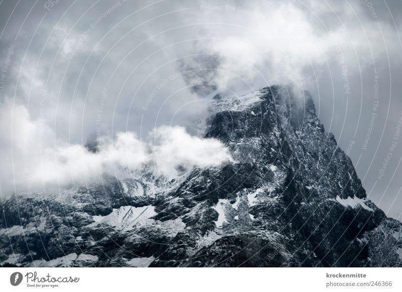 summit tower Landscape Clouds Gale Fog Rock Alps Mountain Peak Snowcapped peak Blue Bravery Switzerland Canton Graubünden Haze Cloud pattern Gray Majestic