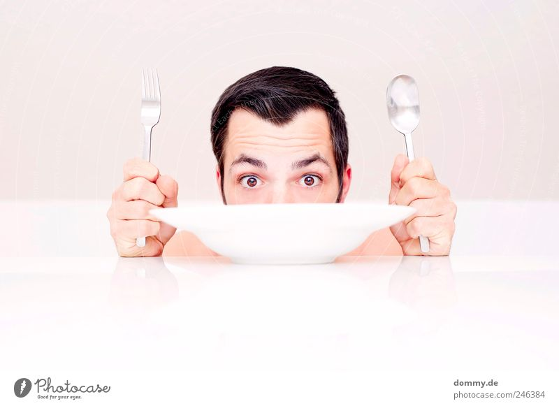 naked lunch 3 Masculine Skin Head Hair and hairstyles Face Eyes Ear Nose 1 Human being 18 - 30 years Youth (Young adults) Adults Eating Plate Table Spoon Fork