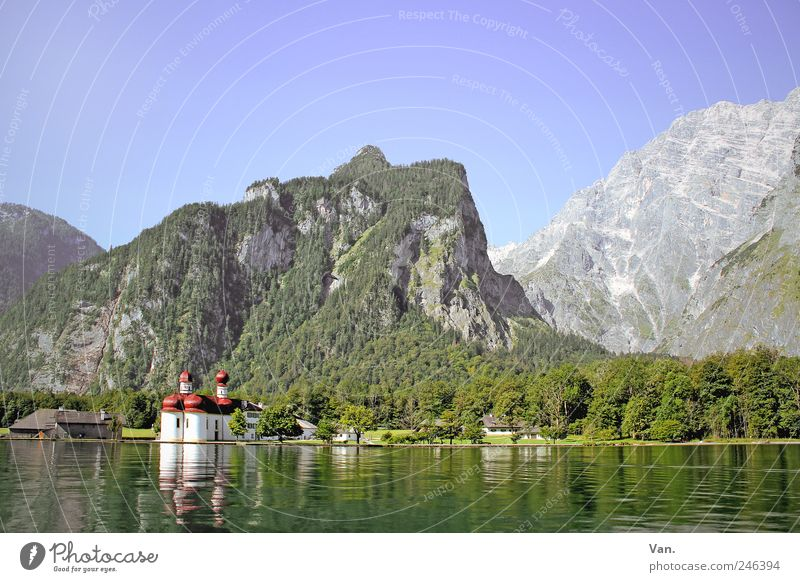 St. Bartholomew Relaxation Calm Vacation & Travel Tourism Trip Freedom Summer vacation Mountain Sky Cloudless sky Tree Forest Rock Alps Lakeside Lake Königssee