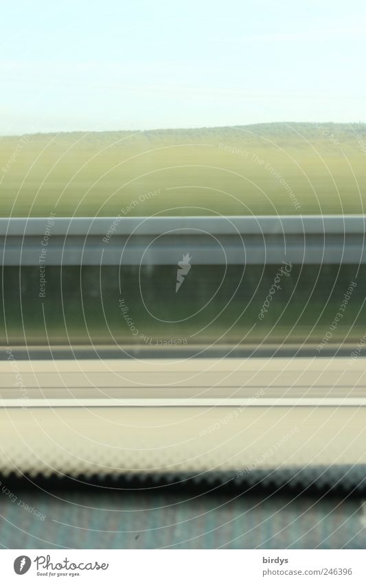 Linientreuer window cleaning muffle Summer Transport Motoring Highway Driving Vacation & Travel Speed Movement Window seat Crash barrier Blue sky Rural Parallel