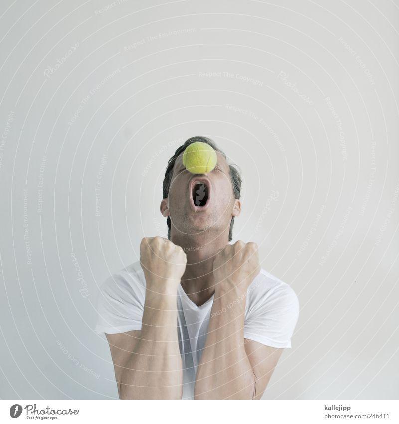 big tennis Ball sports Sportsperson Success Human being Masculine Man Adults Life Head Arm Hand 1 30 - 45 years T-shirt Feasts & Celebrations Scream Joy Sieg