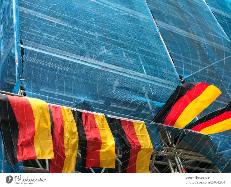 German flags on scaffolding Leisure and hobbies Playing Redecorate Feasts & Celebrations Sports Ball sports Fan Flag Hang Gold Black Euphoria Honor