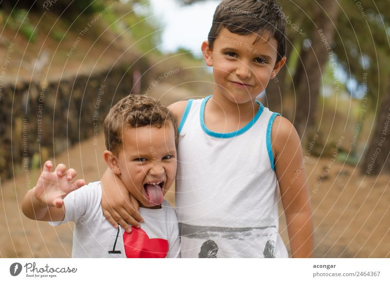 Happy and funny brothers Child Human being Joy Lifestyle Love Funny Boy (child) Friendship Masculine Infancy Smiling Happiness To enjoy Horizontal