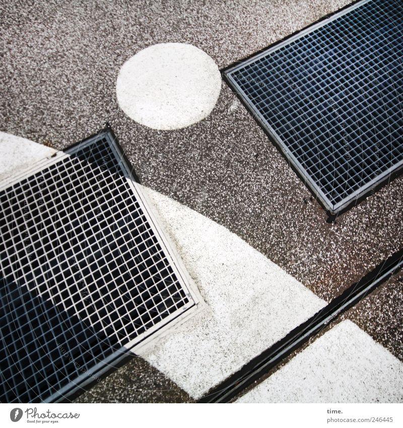 White Colour Dye Art Concrete Ground Circle Floor covering Asphalt Grating Drawing Subsoil Molding Shaft