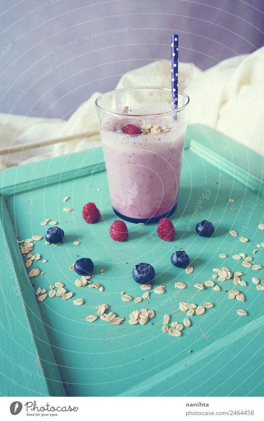 Delicious smoothie of berries and oat flakes Fruit Grain Nutrition Breakfast Organic produce Vegetarian diet Beverage Cold drink Juice Milk Milkshake