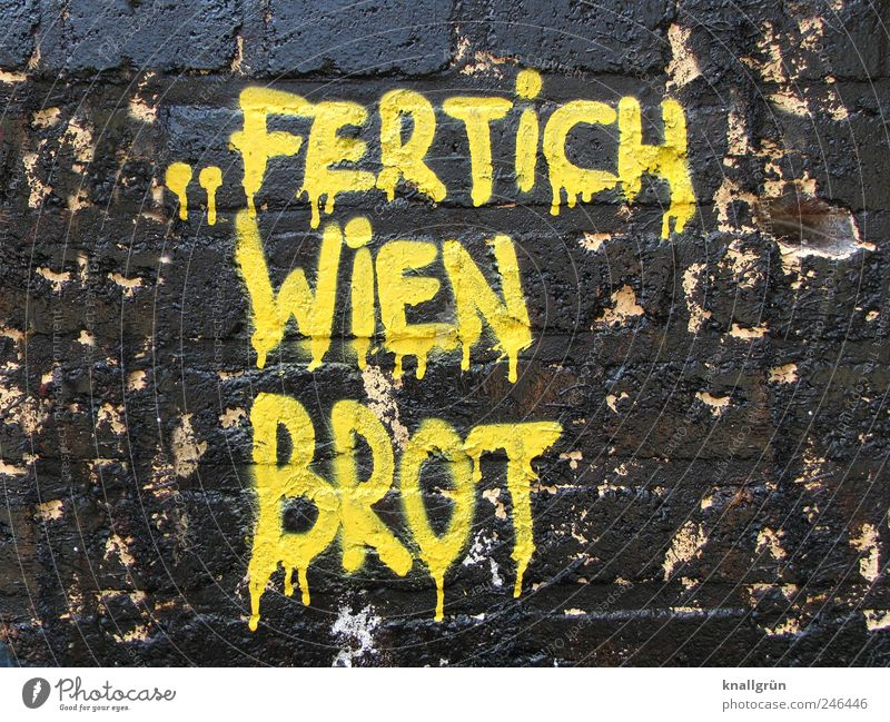 FERTICH VIENNA BREAD Art Work of art Wall (barrier) Wall (building) Facade Characters Graffiti Communicate Cool (slang) Dirty Hip & trendy Funny Brown Yellow