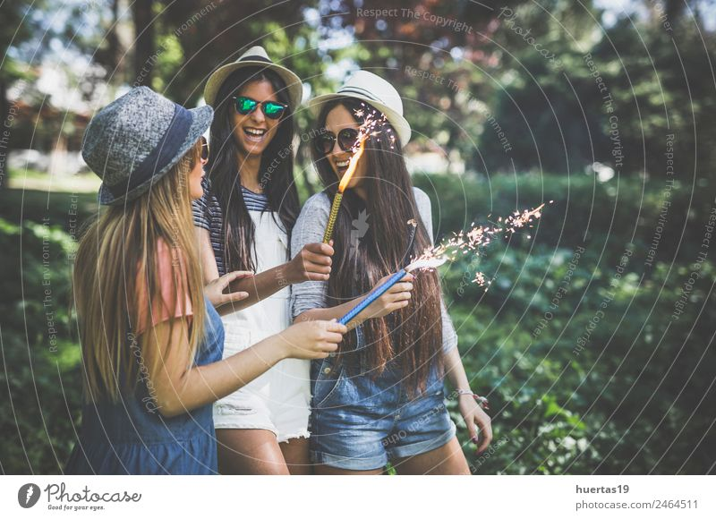 Three young and pretty girls in the park Lifestyle Style Design Joy Entertainment Dance Feasts & Celebrations Human being Feminine Young woman
