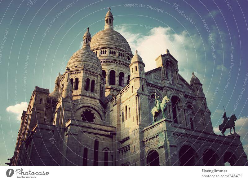 Sacré Coeur Paris France Europe Old town Church Architecture Tourist Attraction Sacré-Coeur Famousness Basilica House of worship Religion and faith Colour photo