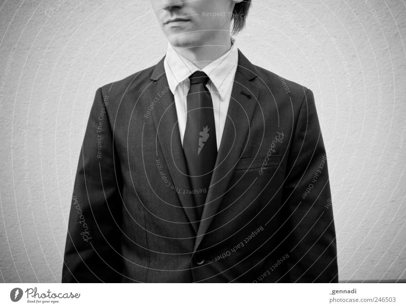Human being Youth (Young adults) Adults Loneliness Sadness Wait Masculine Modern Stand Retro 18 - 30 years Shirt Suit Boredom Tie Vignetting