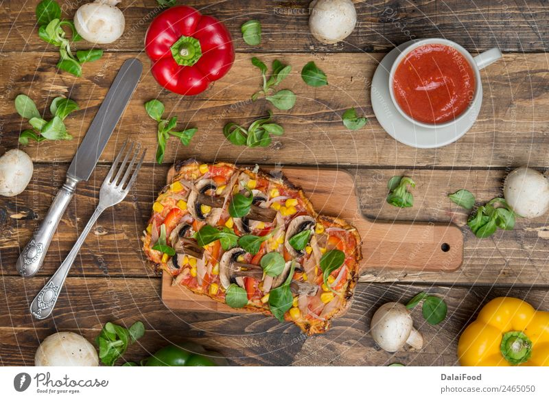 pizza real food Food Nutrition Organic produce Vegetarian diet Slow food Knives Fork Diet Above Original Pizza Authentic Colour photo Studio shot Deserted