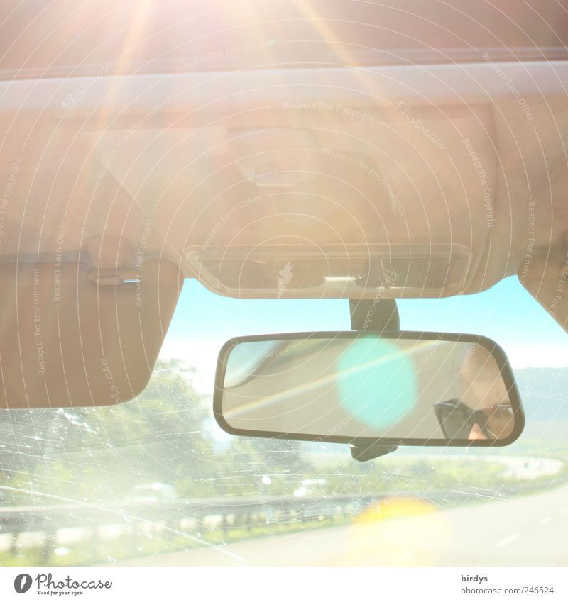 Human being Vacation & Travel Summer Freedom Movement Warmth Car Bright Transport Fresh Speed Exceptional Driving Mirror Highway