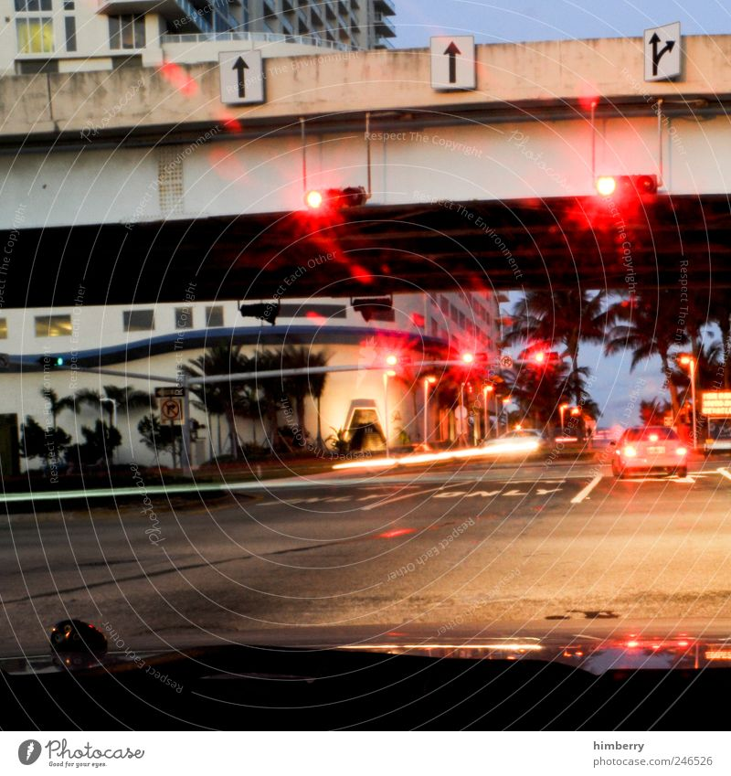 east coast red lights Art Miami Miami Beach Town High-rise Bridge Manmade structures Building Transport Means of transport Traffic infrastructure