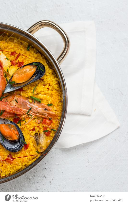 Traditional rice in paella Food Meat Fish Seafood Vegetable Grain Lunch Diet Healthy Eating Delicious Sour Yellow Paella Rice Shellfish Chicken stew Spanish