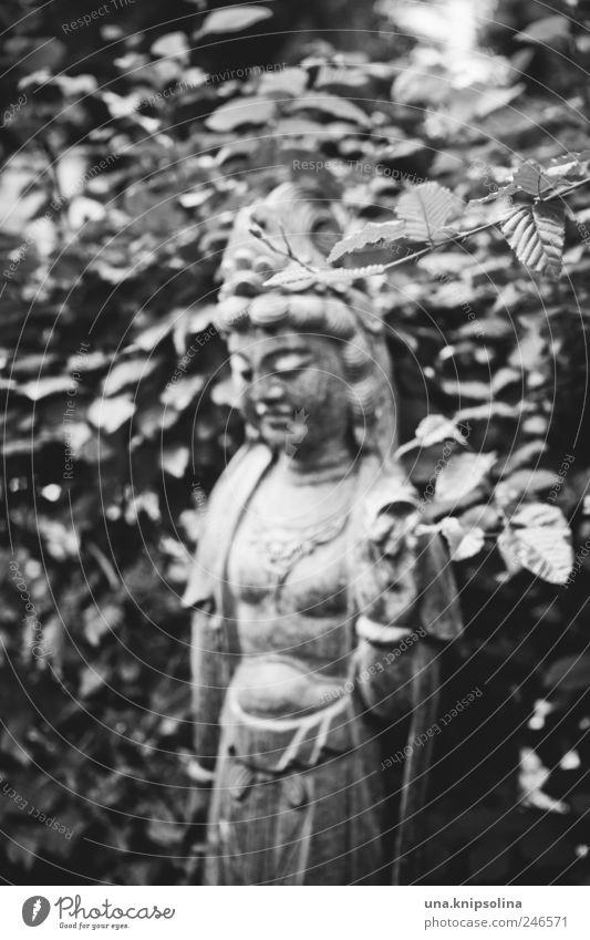 tombeau Sculpture Environment Nature Bushes Leaf Park Stone Dark Wild Cemetery Tombstone Goddess Berlin-Friedenau Exceptional Black & white photo Exterior shot