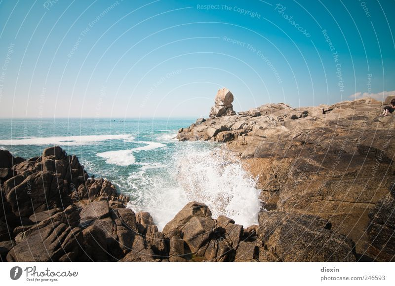 Sky Nature Summer Vacation & Travel Ocean Far-off places Relaxation Cold Freedom Landscape Movement Waves Power Wet Trip Rock