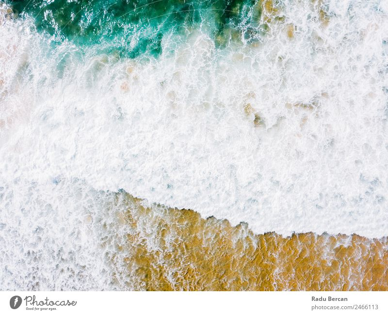 Aerial Panoramic Drone View Of Blue Ocean Waves Crushing On Sandy Beach in Portugal Aircraft Abstract Vantage point Top Water Nature Beautiful seascape