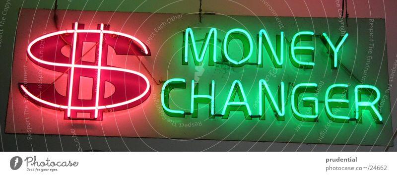 money changer Money Exchange Neon light Red Green