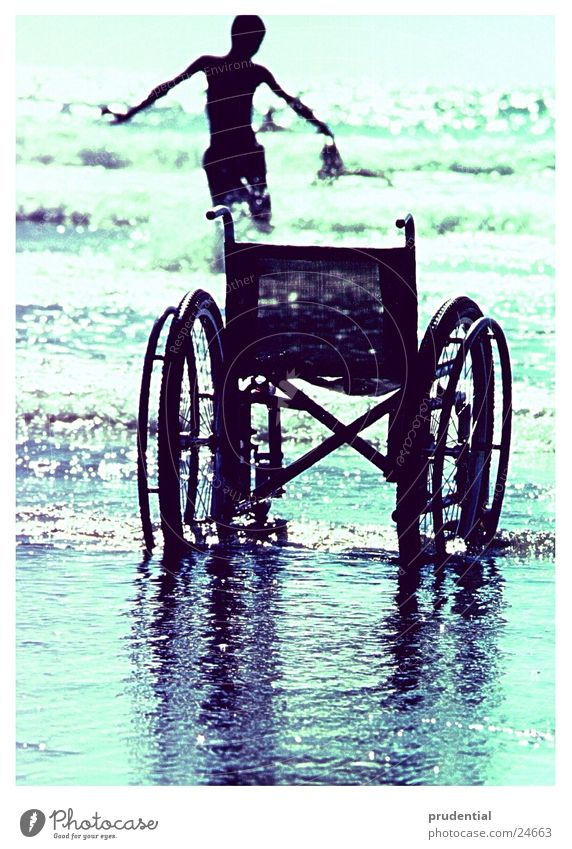 go for a swim Wheelchair Reflection Waves Handicapped Human being Swimming & Bathing Water