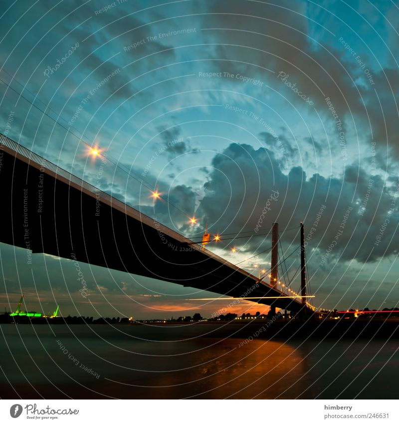 bridging day Science & Research Environment Landscape Water Sky Clouds Storm clouds Night sky Summer Climate Climate change River bank Duesseldorf Town