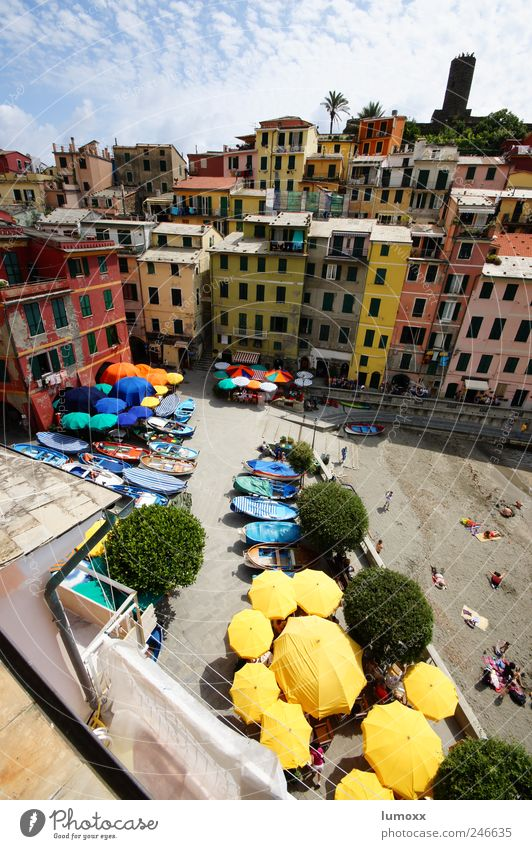 la piazza di vernazza Vacation & Travel Tourism Ocean Living or residing Summer Vernazza Cinque Terre Italy Village Fishing village Downtown