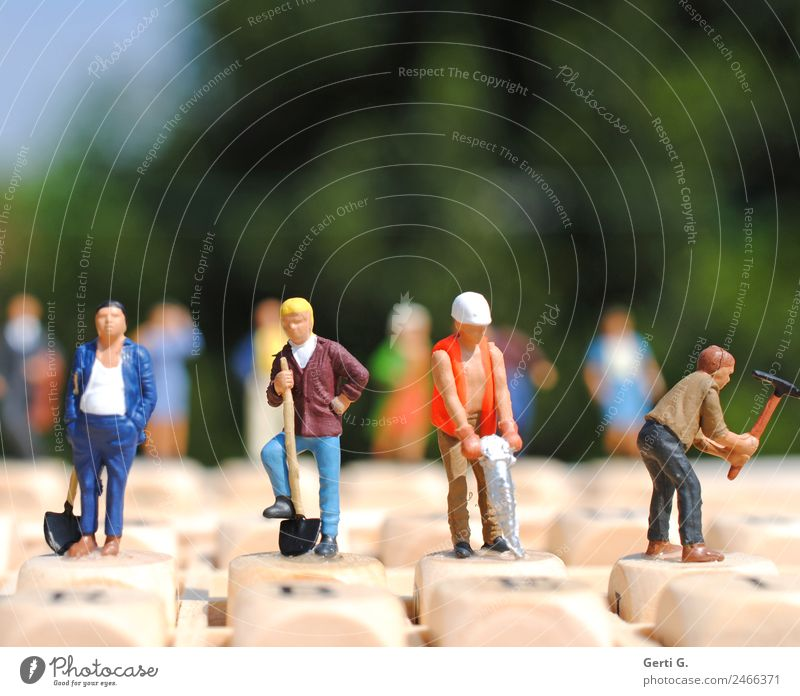 Miniatures - working in sunlight House building Work and employment Profession Craftsperson Economy Craft (trade) Construction site Energy industry Company
