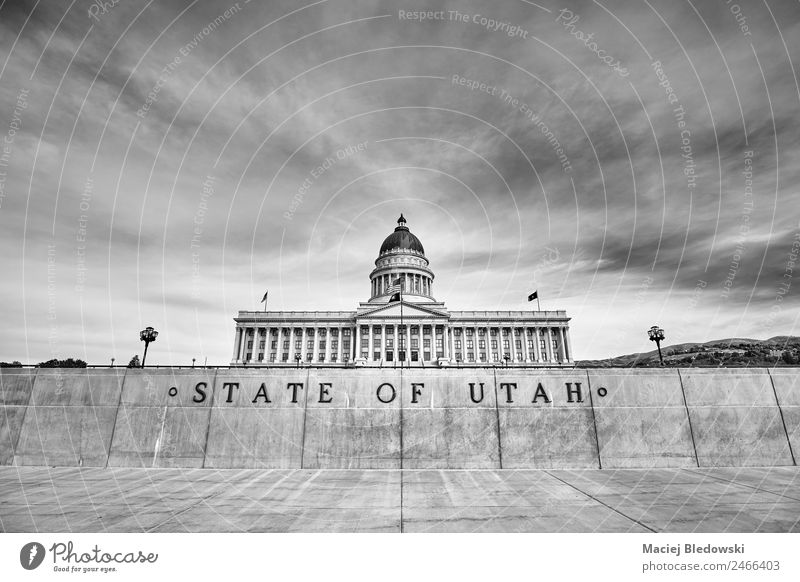 Utah State capitol building in Salt Lake City, USA. Sky Town Building Architecture Wall (barrier) Wall (building) Facade Tourist Attraction Landmark Old Black