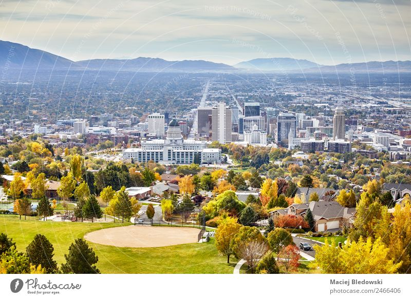 Aerial view of the Salt Lake City downtown in autumn. Vacation & Travel Sightseeing House (Residential Structure) Landscape Autumn Park Town Downtown Skyline