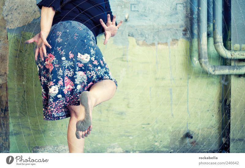 Woman Human being Joy Adults Feminine Life Wall (building) Happy Elegant Esthetic Crazy Clothing Uniqueness Thin Skirt