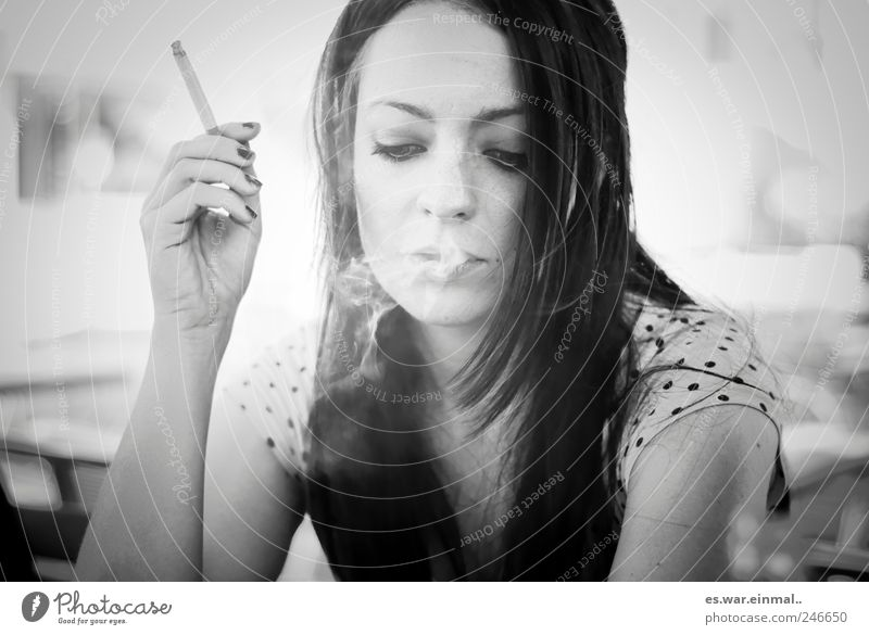 Beautiful Face Calm Feminine Smoking Serene Caution