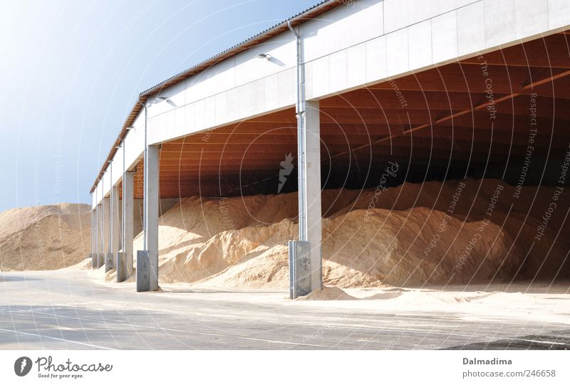 Sand Building Open Arrangement Industry Industrial Photography Warehouse Storage Blue sky Heap Industrial plant Environmental pollution Structures and shapes