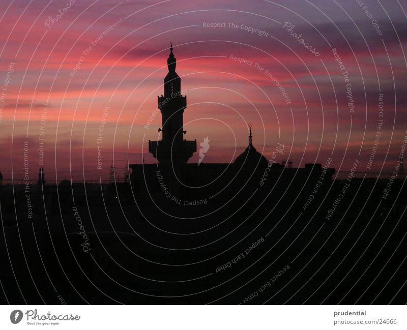 mosque in the morning Mosque Red sky Arabia Architecture Morning