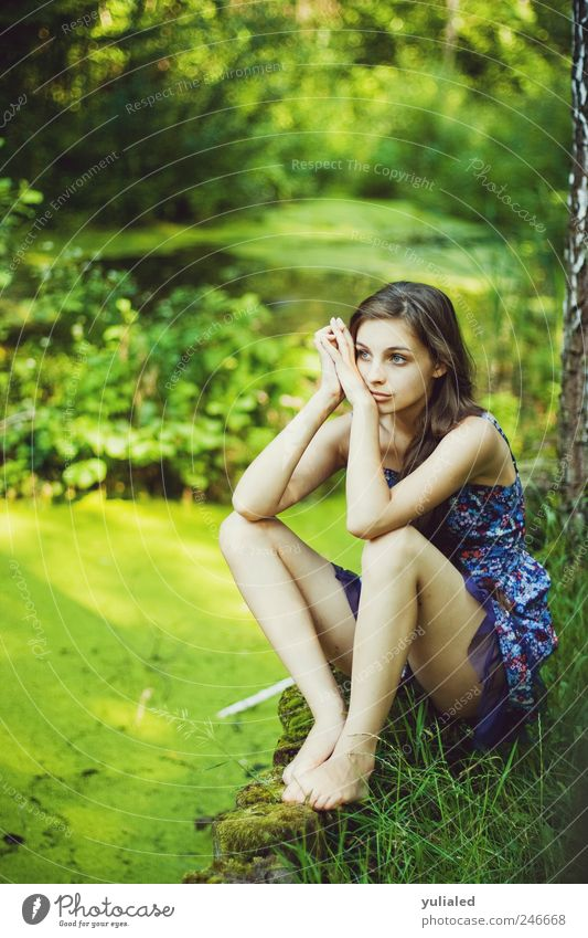 Beautiful young woman Calm Meditation Island Feminine Youth (Young adults) Feet 1 Human being Landscape Water Summer Grass Virgin forest Bog Marsh Lake Emotions