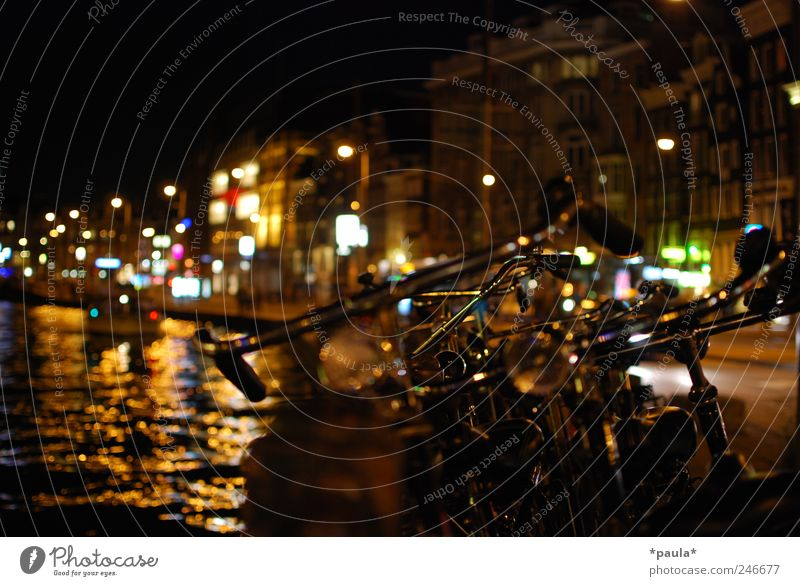 Amsterdam Lifestyle Night life Capital city Downtown House (Residential Structure) Building Gracht Passenger traffic Road traffic Motoring Street Bicycle