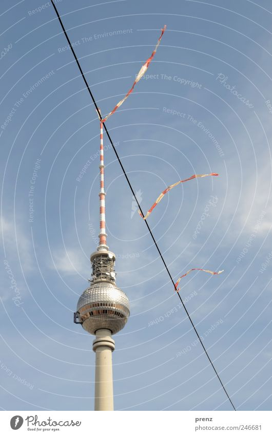 Sky Blue Red Clouds Berlin Architecture Wind Cable Tower String Beautiful weather Downtown Downtown Berlin Capital city Tourist Attraction Television tower