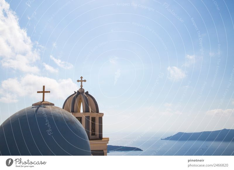 Chapel with view on Santorini Vacation & Travel Summer Village Manmade structures Europe Greece Horizontal Religion and faith Landmark Tourism Building